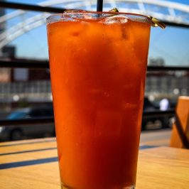Liquid sunset as epic as the real deal. Treat those tastebuds with this afternoon delight, Patty's Red Ryder, Wynkoop chili beer with a splash of tequila, fresh lime, and tomato juice.
